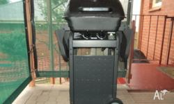 2 burner gas BBQ with hood on pedastool with wheels.