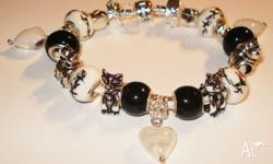Black and White Cat Bracelet =$30 20cm(Average Adult