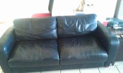 Beautiful old black leather sofa (not bonded leather so