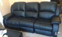 Black leather recliner three seat lounge and two single
