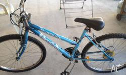 Blue and white tempas mountain bike, works great just