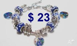 Blue Beads, Cats and Kittens Bracelet=$23 Silver plated