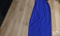 Blue Long Dress with pleat at back comes with black