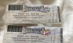 Two Bluesfest early bird tickets for sale. Real