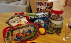 Jenga(earth quake),magnetix,and solders figure and so