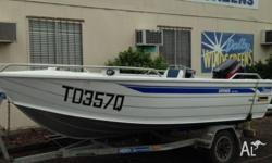Stessco 4.2m catcher. Has a 40hp Tohatsu. Comes with a