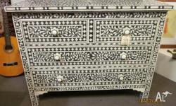 Camel bone inlay chest of drawers. This beautiful
