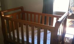 Boori cot and mattress, very good condition, top rails