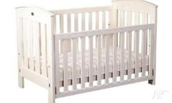 White Boori cot with matching 2 drawer change table.
