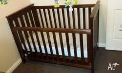 Dark brown Boori cot with matress. Safetrack model. Has