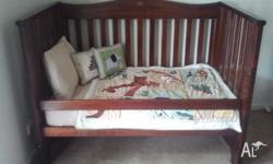 Hi, there, selling my sons much loved cot and tallboy,