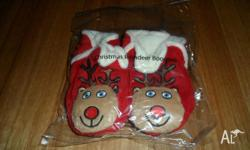 Reindeer booties red in colour. very comfy for babies.