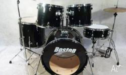 Boston 5pce Wicked Black Drum Kit [DK 0367] 22in x 16in