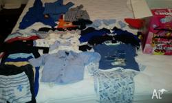 Mixed boys baby clothes 00 approx 40 items boxed in