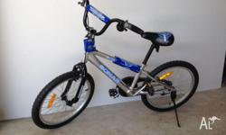 Silver and blue with pedal brake. Light alloy frame
