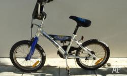 Silver and Electric Blue boys bicycle. This is in very