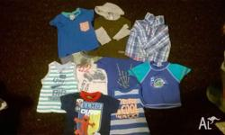 Boys size 0 2 singlets 3 short sleeves tops 2 long