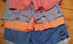 5pairs of boys shorts sizes to suit 12 - 14 Billabong