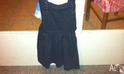 Brand new black spotty dungaree dress Size 8 Ally