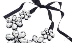 Brand New Flower Diamante Choker Crest Necklace Ribbon