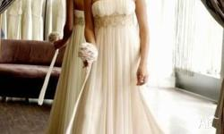 Beautiful chiffon ivory colour wedding dress with gold