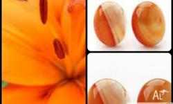 Brand New Oval Shape Orange Color Agate Clip Earrings