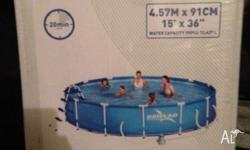 Brand new in the box is a driclad pool with pump and