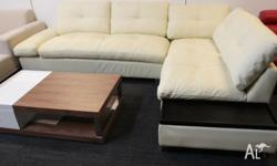 Brand New Full Real Leather Corner Sofa Lounge Suite