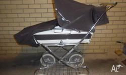 Brown and White Steelcraft Pram - very good condition