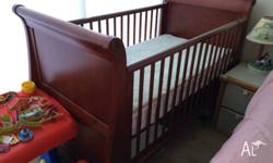 Bruin 3 in 1 Cot with mattress and change table for