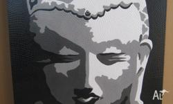 Black white and grey Buddha on stretched canvas.