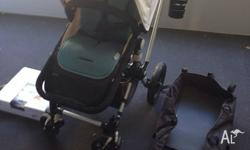 Bugaboo cameleon pram in cream with charcoal base. All