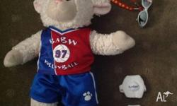 Build a bear brand lamb bear with soccer accessories.
