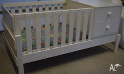 White Bunkers bed cot with 2 drawers. Rails can be