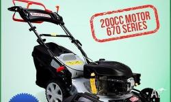 "This Black Eagle 20"" Self-propelled lawn mower comes"