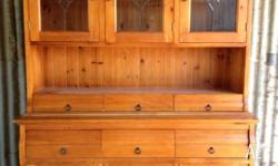 Timber two piece hutch with glass panels. Can be