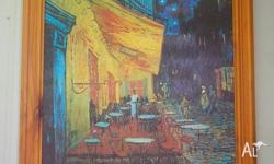 Cafe Terrace at Night - Van Gogh print in wooden frame