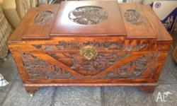Antique camphor wood chest/trunk. Beautifully hand
