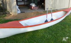 Canadian style canoe - approx 5 metres long. 2 inbuilt