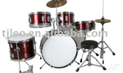 5 Drums, Top Hat & Cymbals, Foot pedal, Stool, Wooden
