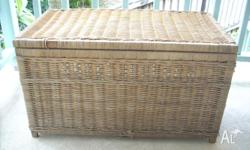 Vintage cane chest with optional glass top. The cane