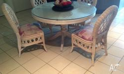 Solid cane round table and chairs in excellent
