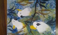Up for sale is a painting of the lovely white parrots.