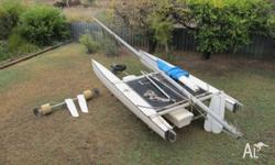 Very fast 5 metre fibreglass catamaran complete with