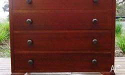 Older Style CEDAR 4 DRAW CHEST OF DRAWERS / LOWBOY .