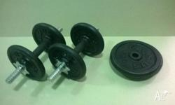 Set of (hardly used) Celsius Dumbells with 20kg of