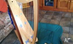 26 string lever harp - can play up to 3 sharps or 3