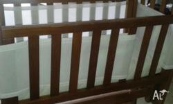 baby cot wooden rocker includes matress and some soft