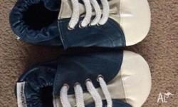 Boys Soft soled shoes in blue & white. Size M, Suit
