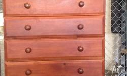 Chest of drawers, 6 drawer Pine with walnut stain